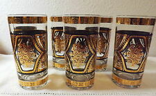 6 CULVER GLASS BLACK AND REAL GOLD ENCRUSTED TUMBLERS PATTERN UNKNOWN