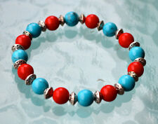 Red Coral & Turquoise Handmade Mala Beads Bracelet - For Friendship High Blood P