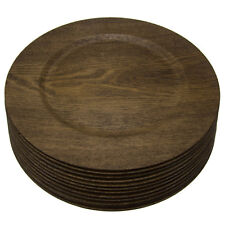 12pk Round 13 Inch Wood Skin Charger Plates Gibson Home Dinner Servers Bulk Set