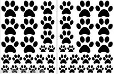 BLACK PAW PRINTS - 2 sheets total of 44 pieces VINYL WALL DECAL STICKER DOG CAT
