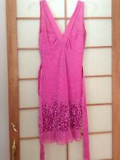 Flavio Castellani pink double V-Neck Sleeveless Dress with sequence. Size 40