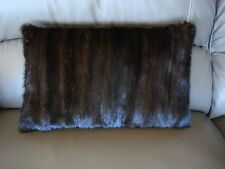 "1 SHINY DARK BROWN MINK FUR PILLOW 19.5"" by 12""  FREE USA SHIPPING cushion throw"