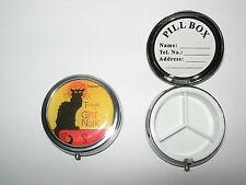 BOITE A PILULES TOURNEE DU CHAT NOIR BLACK CAT PILLS BOX GATTO NERO GATO NEGRO