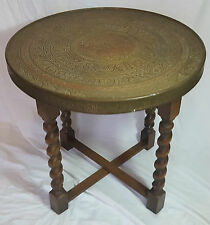 Beautiful Vintage  Middle Eastern Brass Tray Table