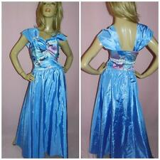 80s BLUE FLORAL CONTRAST PRINCESS PROM PARTY DRESS 10-12 1980s KITSCH HEN PARTY