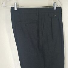 "DUNHILL WITH LOGO GRAY FLANNEL PURE WOOL PLEATED PANTS WAIST 34"" X 32"" MINT"