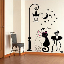 DIY Black Couple Cat Removable Wall Decal Stickers Art Home Decor Living Room