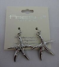 Starfish earrings silver dangle wires clear crystals