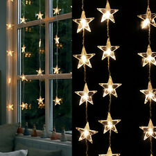 Fairy Light Star Curtain Strings Lights for Wedding Party Home Warm White 80 LED
