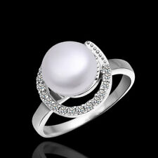 925 Sterling Silver Pearl Zirconia Ring Size 8 B18