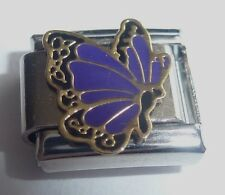 PURPLE BUTTERFLY 9mm Italian Charm - fits Classic Starter Bracelets February N5