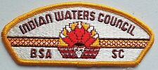 BOY SCOUT BSA CSP COUNCIL PATCH INDIAN WATERS SC YELLOW BORDER CLOTH BACK MINT