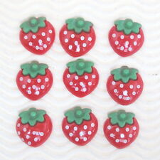 "US SELLER - 15 pcs x 3/4"" Polka Dots Resin Strawberry Flatback/Cabochons SB645"