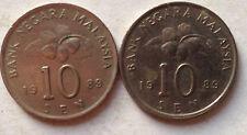 Malaysia 10 sen 1989 coin 2 pcs