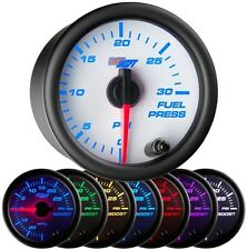 52mm GlowShift White 7 Color 30 PSI Diesel Fuel Pressure Gauge - GS-W711-30
