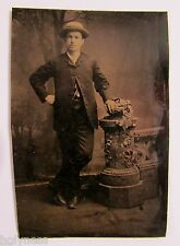 ANTIQUE VICTORIAN 1800's TIN TYPE STUDIO PHOTO OF A GENTLEMAN / #13