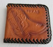 Vintage Leather Bifold Brown & Red Wallet Texas Boot Western Hand Tooled Crafted