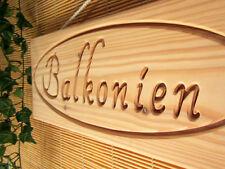 BALKONIEN, Deko Schild aus Holz für Balkon Terrasse Garten, massiv, Lärche, 45cm
