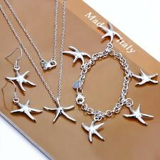 925 Silver filled bracelet necklace earrings starfish Fashion Jewelry Set Gift