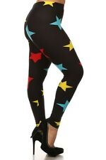 Plus Size Leggings XL-2X Black Star Print Polyester Spandex LEGGINGS DEPOT