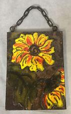 Vintage 1960s Fat Lava Yellow Sunflower Wall Tile Plaque Ruscha Keramik WGP 763