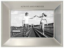 Malden Simply Stated Shiny Pewter Picture Frame, Always and Forever, 4 by 6-Inch