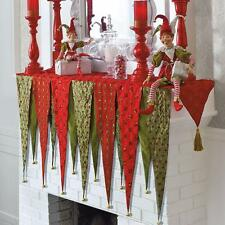 CHRISTMAS BOUTIQUE Whimsical Red Green Fireplace Mantel Tassel Scarf w/bells