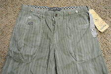 UNION Designer Board Shorts 32 NWT$129 HIGH END! Army Green&Navy Cotton! Stripes