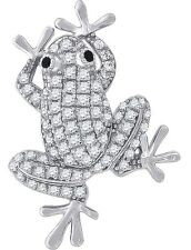 """Tree Frog Pendant Necklace 925 Sterling Silver Cubic Zirconia 18"""" Chain"""