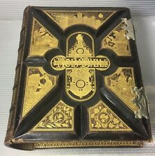1878 Family HOLY BIBLE Gustave Dore ANTIQUE Fine Binding VICTORIAN Gold Tone