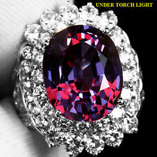 GRACEFULLY 12.2 CT. ALEXANDRITE COLOR CHANGE REAL 925 SILVER RING SZ 6.5 US