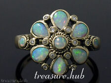 9ct SOLID Gold Natural OPAL Diamond Daisy Cluster Ring