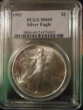 """1993 American Silver Eagle - Pcgs Graded Mint State """"69"""""""