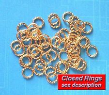 50 GP 8mm closed twisted jump rings, findings for jewellery making crafts