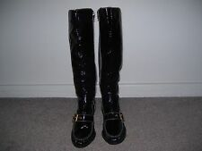Sacha London Tall Black Patent Leather High Heel Boots Size 6