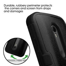 For MOTOROLA MOTO G 3 3rd GEN Slim Hybrid Tuff Hard Protective Case Cover BLACK