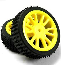 85007 1/16 Scale Front Buggy Wheels and Tyres x 2 Complete HSP Yellow Plastic