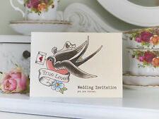 Swallow and love letter tattoo alternative wedding invites - pack of 10