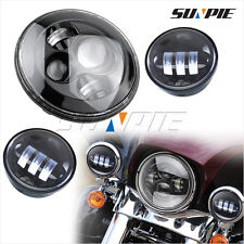 Black 7inch LED Headlight &  4.5'' Auxiliary Passing Fog Spot Light For Harley