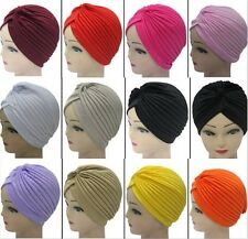 Admiring Unisex Women Head Wrap Tuban Hijab Bandana Twist Pleat Cap Hat Stretchy