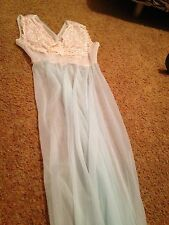 Ultra Sheer Vintage Night Gown-light Blue-green W/Lace Accents Late 50s60s?