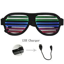 GEREE Sound & Music Reactive LED Glasses USB Rechargeable Slotted Shutter Fla...