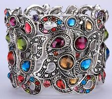 Wide Multicolor Peacock Style Stretchy Bracelet Crystal Fashion Jewelry BD14
