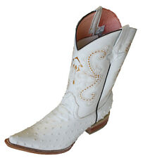 MEN WESTERN COWBOY OSTRICH PRINTLEATHER (EMBOSSED OSTRICH)  BOOTS SNIP TOE ``