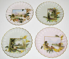Set of 4 Antique Spode Copeland Scenic Plates Hand Painted Piecrust Scalloping