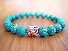 Handcrafted Semi Precious Stone Bracelet w/ Turquoise Beads & Silver Buddha Head