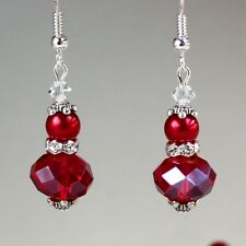 Dark red pearls crystals vintage silver drop dangle wedding bridesmaid earrings