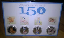 beatrix potter set of coloured 50p coins nutkin peter rabbit jemima tiggywinkle