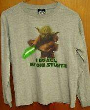 YODA youth med T shirt Jedi Master tee STAR WARS longsleeves All My Own Stunts