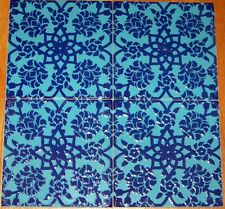 "Ottoman Floral Design 12 8""x8"" Turkish Turquoise & Blue Raised Ceramic Tile Lot"